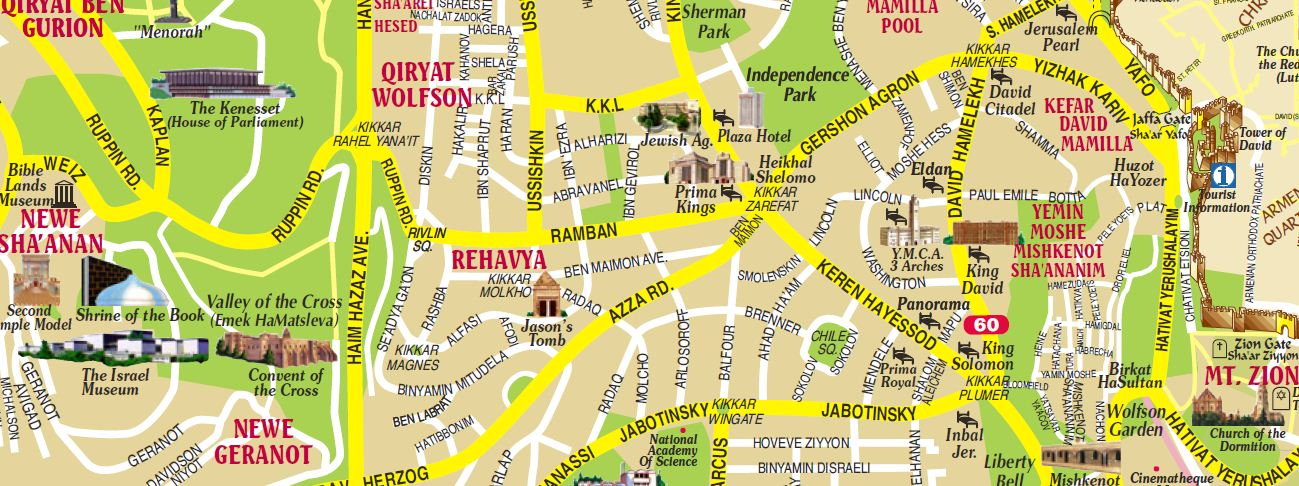 Israel Tour – Jerusalem Tourist Map